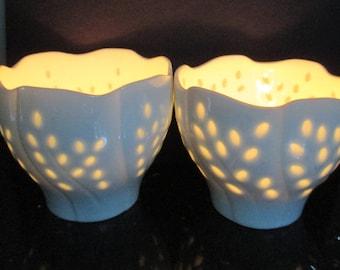 Dansk Votive Candleholder Midcentury Rice Porcelain Scalloped Edge Pair