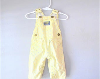Vintage OSHKOSH B GOSH Yellow Jean Overalls / Baby Dungarees Infant Floral Pants / Baby Girl Bib Overall Pants Size 3-6 Months