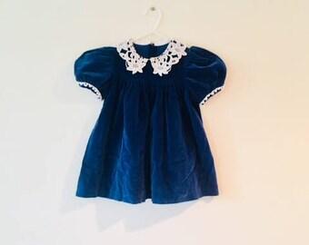 Adorable Toddler Dress / Vintage Navy Blue Velvet Baby Dress / Size 2T 24 Months
