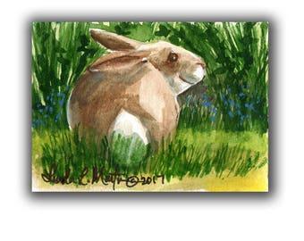 Bunny Brown Rabbit Baby Nursery llmartin Original ACEO New Mom  Watercolor New Mom Free Shipping USA Child Children