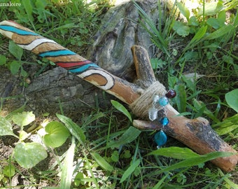 Beltane Wand, Sassafras Wood,  Hand Painted Maypole Ribbons, May Day, Spring Sabbat - Beltaine, OOAK