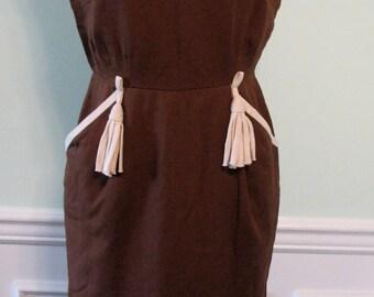 Vintage Dress Brown Wiggle Tassels Linen 1960s Branell