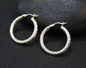 Sterling Silver Diamond Cut Hoop Earrings, Simple Sterling Hoops, Round Sterling Hoop Earrings, Diamond Cut Sterling Silver Jewelry