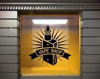 Wall Window Decal Sticker Vape Shop Vaping Vape Store Logo 1852t