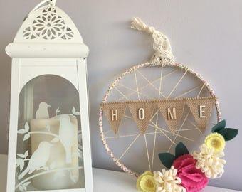 Embroidery Hoop Wreath, Wall Hanging, Home Decor, Wreath, Floral Wreath, Wall Art, Floral, Felt Flowers, Hessian