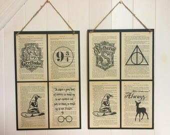 Harry Potter Book Art Poster ~ A3 Harry Potter Poster with Recycled Book Page Art ~ Designs or Book Quotes