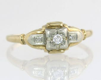 Antique Art Deco .07ct Genuine Diamond 14K & 18K TT Gold Engagement Ring