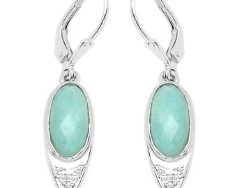 4.62 Carats Amazonite and White Topaz Earrings Set in .925 Sterling Silver