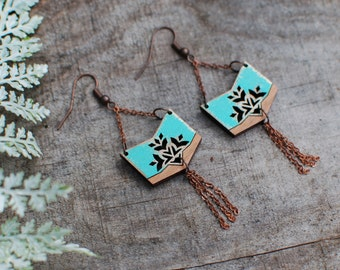 Wooden Earrings - Distressed Country