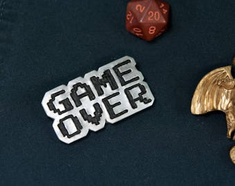 GAME OVER Label Pin, Gamer Pin, Game Over Hat Pin, Nostalgia Pin, Player Pin, 8 bit Game Over Design, Faux Metallic Pin, Geeky Hat Pin, Game