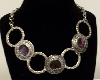 Deep purple large circle necklace