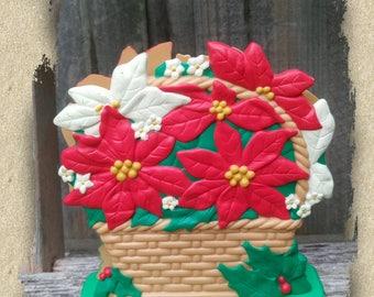 Serviette Napkin Holder ~ Christmas ~ Kitsch ~ Poinsettia's ~ Plastic Letter Holder