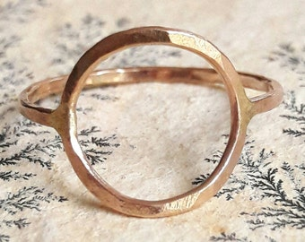 Yellow Gold Circle Ring - Gold Fill Ring - Open Circle Ring - Geometric Ring - Hammered Gold Ring - Delicate Gold Ring - Ring for Girlfriend