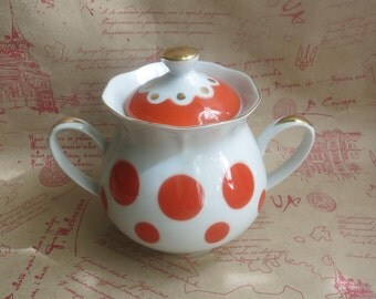 Polka Dot Sugar Bowl, Porcelain Sugar Bowl, red polka dot, retro kitchen decor, red and white, lidded sugar bowl, Soviet kitchen,
