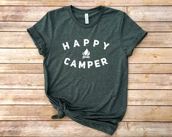 Happy Camper / Hiker Shirt / Camping Shirt / Graphic Tee / Graphic T-Shirt / Funny Shirt / Workout Top / Workout Tee