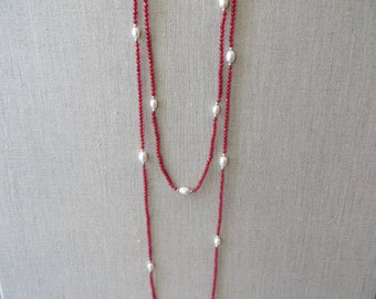 Long Faceted Gemstone & Pearl Station Necklace