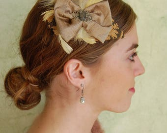 """Beige and pale yellow fascinator with silk bow, """"Bibi"""" cocktail with feathers and cabochon"""