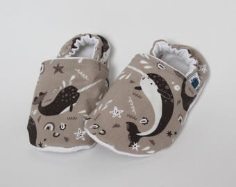 Baby crib shoes, Custom Slippers, Narwhal, Sea unicorns, Brown, Taupe, Ocean, Water, Cotton, Soft sole moccs, Toddler, Kid, Shower gift