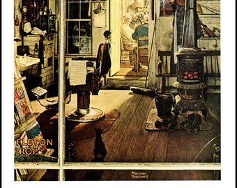 Shuffleton's Barber Shop and Solitare, Post Covers by Norman Rockwell. The page is approx. 11.5 inches wide and 15 inches tall.