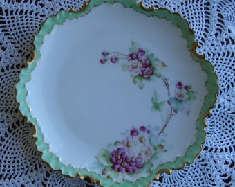 """Antique Rosenthal - R.C. Monbijou Bavaria - Introduced in 1896 - Scalloped and Ruffled Hand Painted 6"""" Decorative Plate"""