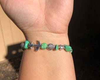 Beach Charms Beaded Bracelet with Turquoise Dyed Howlite