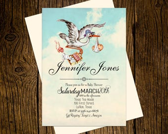 Stork Baby Shower Invitations Personalized Custom Printed Set of 12 Party Invites Vintage Ecru Sky Blue