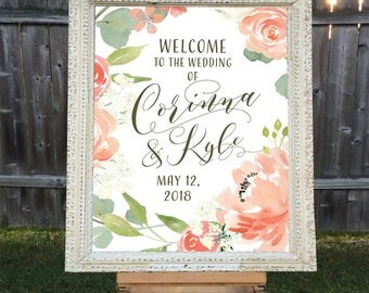 Welcome to the Wedding Printable, Personalized Wedding Sign, Names and Date, Custom Wedding Sign Printable, Download