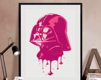 Darth Vader cross stitch modern pattern. patrón Darth Vader punto de cruz. Star Wars cross stitch. Descarga jpg (#44)