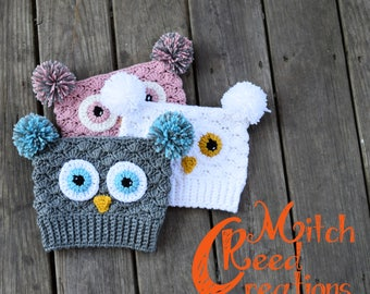 Owl Little Sack Hat, Crochet Owl Sack Hat, Crochet Owl Sack, Crochet Owl Hat, Owl Hat Photo Prop, Owl Toboggan - Made to Order