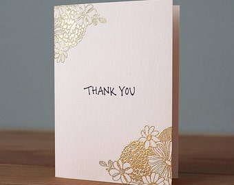Handmade Gold Embossed Thank You Card
