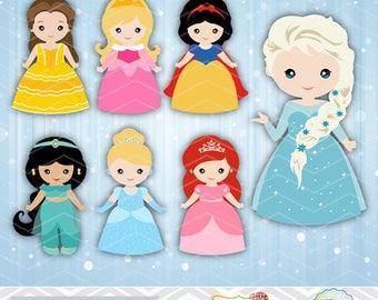 Digital Princess Clipart Disney Princess Clip Art Cute Princess Girls Clipart Snow White Cinderella Belle Sleeping Beauty Ariel Jasmine 0169