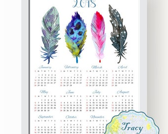 SALE! Printable Wall Calendar, Instant Download 2018 Wall Calendar, Water Color Feather Wall Calendar 2018, Feather 2018 Calendar 0503