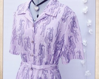 S22/24 Vintage 1970s Shirt Dress Lilac Floral Collared Shirtwaister Day Dress Plus Size Geek Mod Dolly Dress Plus Size