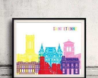 Saint Etienne skyline pop - Fine Art Print Glicee Poster Gift Illustration Pop Art Colorful Landmarks - SKU 2425