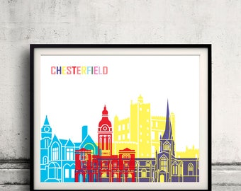 Chesterfield  skyline pop - Fine Art Print Glicee Poster Gift Illustration Pop Art Colorful Landmarks - SKU 2437