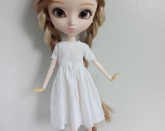 Simple white dots dress for pullip blythe azone momoko obitsu and similar dolls