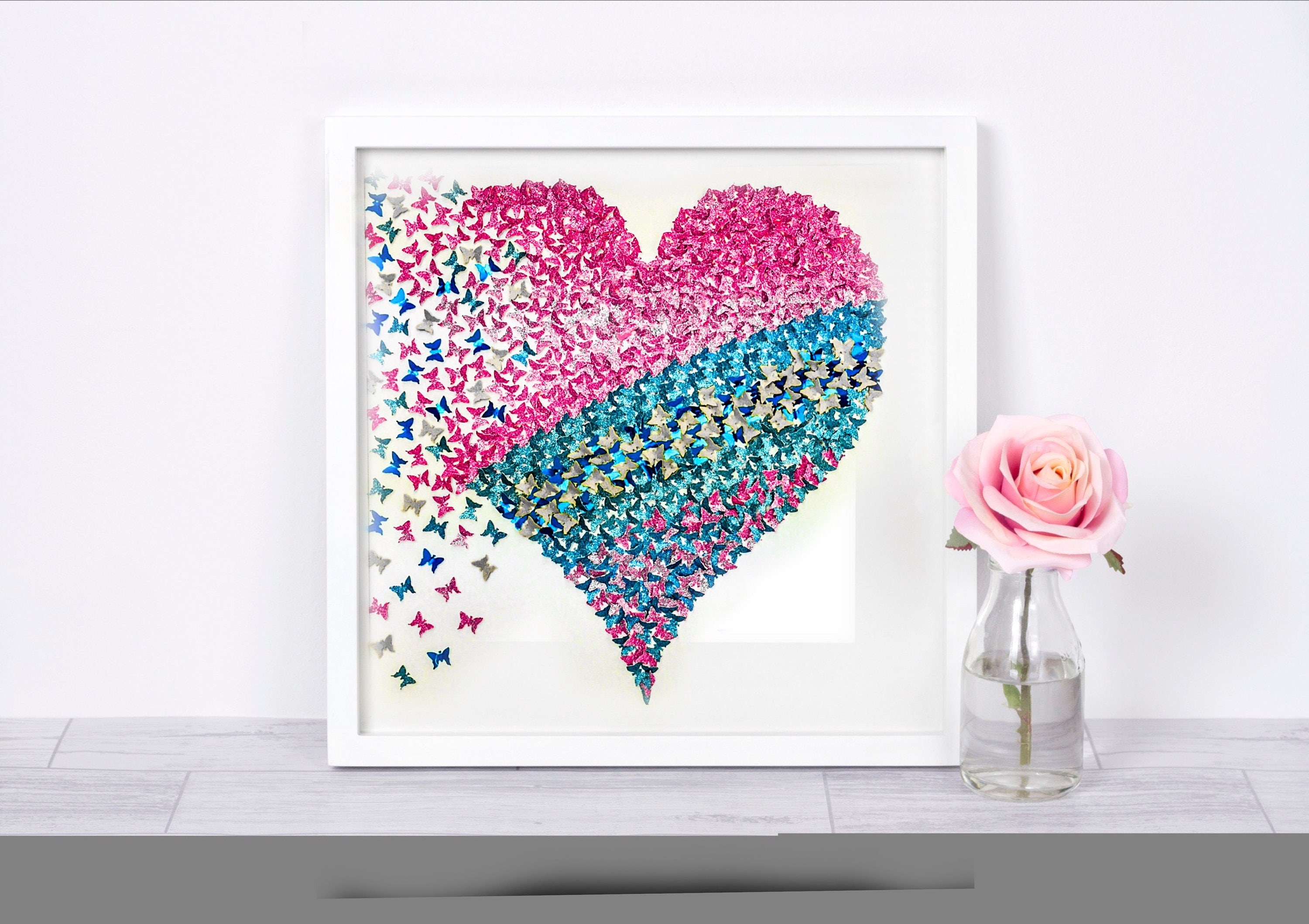 Paper Butterfly 3d Wall Art Heart Pastel Girl Room Decor
