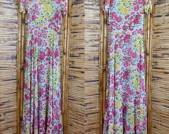 Vintage 1930s Silk Chiffon Bias Cut Floral Dress - Extra Small