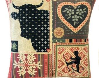 Patchwork Pillow Cover - Mountain Decor - Ski Decor - Savoie France Decor - 18x18 Belgian Tapestry Pillow - Lodge Decor - PC-5690