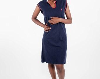 Vintage Ralph Lauren / Nineties dress / Dark blue dress / Sporty dress / Retro dress / Tennis dress / Size L