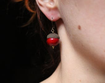 Red tassels earrings