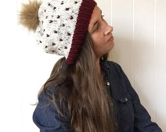 Fur Pom Slouch Hat, Slouch beanie, Maroon Polka Dot Winter Hat, Women's Toque, Fake fur Beanie, Burgundy and tweed, Hand Knit beanie