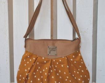 Leatherette shoulder and Crossbody purse and fabric stars