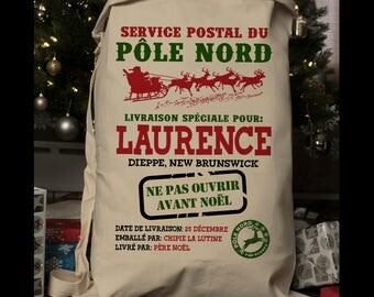Sac Noel,French Santa Sack, Christmas Sack, Santa Bag, Christmas, Christmas Bag, Santa Sacks, Christmas Stocking, Personalized(1009)