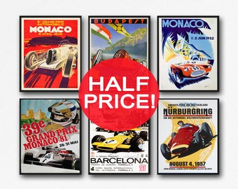 Set of 6 Car Racing Grand Prix Posters F1 Poster Formula 1 poster Car racing Print Motor Racing Poster 1930, 1936, 1937, 1952, 1966, 1970