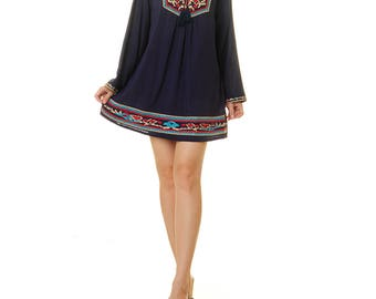 Mexican Embroidered Dress | Long Sleeve Embroidery Dress | Navy Mexican Dress | Embroidered Dress | Oaxaca Dress | Mexican Tunic 8173/8174