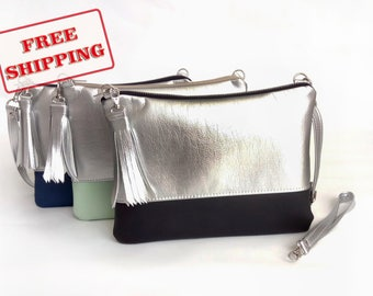 Silver - Clutch bag - Bridesmaid Gift - Wedding clutch - Clutch - color blocked bag - A4