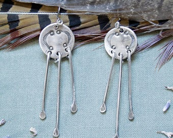 Hand Stamped Sterling Silver Fringe Earrings