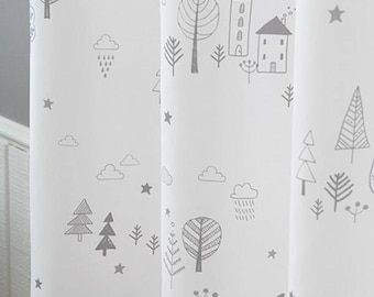 "Adorable Printing Curtains Grommet Kids Curtains 67""L White"