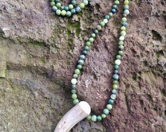 Jade & Deer Antler Tip Necklace